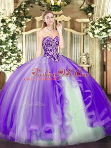 Pretty Sweetheart Sleeveless Lace Up Sweet 16 Quinceanera Dress Lavender Tulle