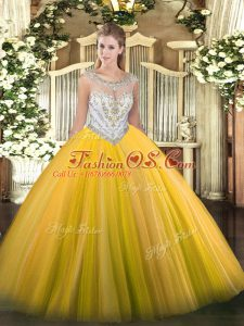 Gold Zipper Scoop Beading 15 Quinceanera Dress Tulle Sleeveless