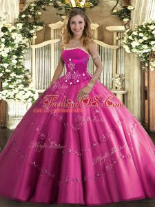 Beauteous Strapless Sleeveless Sweet 16 Dresses Floor Length Beading and Appliques Hot Pink Tulle