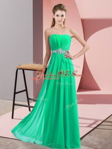 Floor Length Turquoise Womens Party Dresses Chiffon Sleeveless Beading