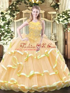 Luxurious Floor Length Zipper Sweet 16 Quinceanera Dress Gold for Military Ball and Sweet 16 and Quinceanera with Beading and Ruffled Layers