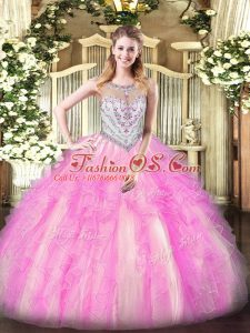Tulle Scoop Sleeveless Zipper Beading and Ruffles 15 Quinceanera Dress in Lilac