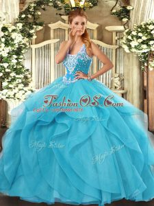 Straps Sleeveless Tulle Vestidos de Quinceanera Beading and Ruffles Lace Up