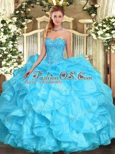 Sweetheart Sleeveless Quinceanera Gown Floor Length Beading and Ruffles Aqua Blue Organza