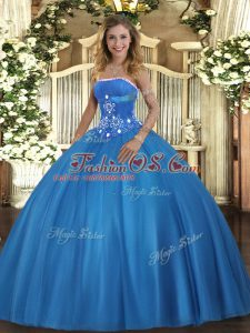 Floor Length Ball Gowns Sleeveless Baby Blue Quinceanera Gown Lace Up