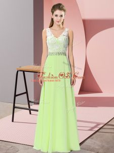 Yellow Green Empire Chiffon V-neck Sleeveless Beading Floor Length Backless Prom Evening Gown
