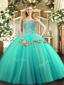 Discount Aqua Blue Ball Gowns Tulle Sweetheart Sleeveless Beading Floor Length Lace Up Vestidos de Quinceanera
