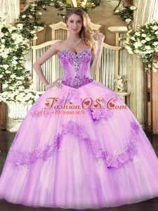 High Quality Floor Length Ball Gowns Sleeveless Lilac Sweet 16 Quinceanera Dress Lace Up