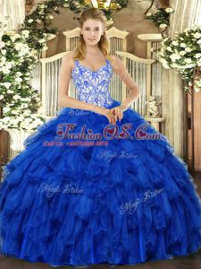 Fantastic Floor Length Royal Blue Sweet 16 Dresses Straps Sleeveless Lace Up