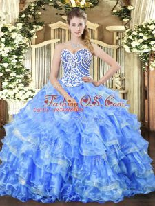 Beautiful Blue Ball Gowns Organza Sweetheart Sleeveless Beading and Ruffled Layers Floor Length Lace Up Vestidos de Quinceanera