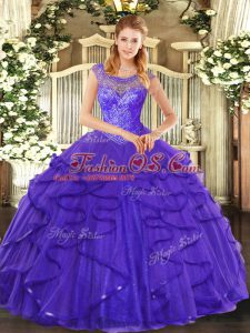 Enchanting Blue Sweet 16 Dress Sweet 16 and Quinceanera with Beading and Ruffles Scoop Sleeveless Lace Up