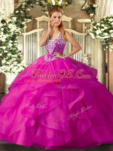 Fuchsia Ball Gowns Tulle Straps Sleeveless Beading and Ruffles Floor Length Lace Up Quince Ball Gowns