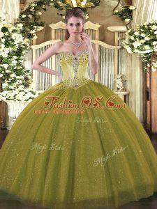 Fabulous Olive Green Tulle and Sequined Lace Up Sweetheart Sleeveless Floor Length Quinceanera Gowns Beading