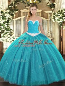 Artistic Teal Tulle Lace Up Vestidos de Quinceanera Sleeveless Floor Length Appliques