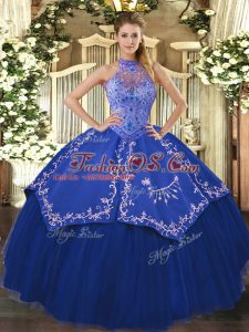 Beauteous Blue Lace Up Halter Top Beading and Embroidery Quinceanera Gown Tulle Sleeveless