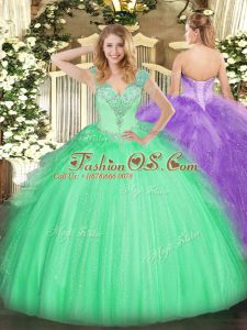 Decent V-neck Sleeveless Lace Up Quinceanera Dresses Apple Green Tulle