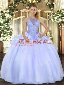 Glorious Halter Top Sleeveless Organza Quinceanera Gowns Beading Lace Up