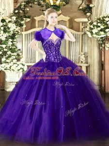Charming Purple Tulle Lace Up Quinceanera Dress Sleeveless Floor Length Beading