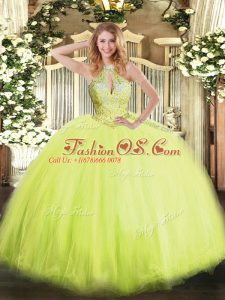 Most Popular Yellow Green Halter Top Lace Up Beading Sweet 16 Dress Sleeveless