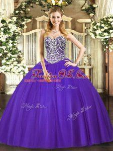 Purple Sweetheart Lace Up Beading 15th Birthday Dress Sleeveless