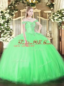 Smart Floor Length Quinceanera Gowns Off The Shoulder Sleeveless Lace Up
