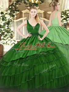 Dark Green Sleeveless Organza and Taffeta Zipper 15 Quinceanera Dress for Military Ball and Sweet 16 and Quinceanera