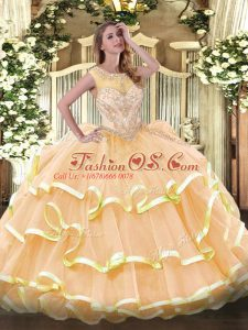 Classical Sleeveless Organza Floor Length Zipper Ball Gown Prom Dress in Peach with Beading and Ruffled Layers