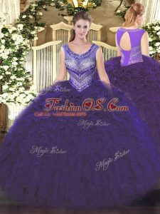 Fantastic Organza Sleeveless Floor Length Quinceanera Dresses and Beading and Ruffles