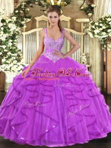 Floor Length Eggplant Purple Quinceanera Dress Straps Sleeveless Lace Up