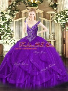 Purple Lace Up Quinceanera Gowns Beading and Ruffles Sleeveless Floor Length