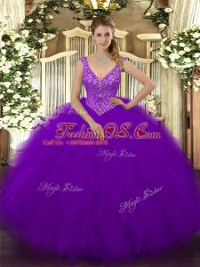 Purple Sleeveless Floor Length Beading and Ruffles Zipper Sweet 16 Dress