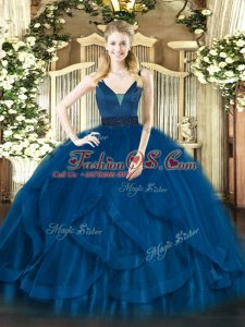 Ball Gowns Quinceanera Dress Royal Blue Straps Tulle Sleeveless Floor Length Zipper