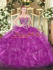 Hot Selling Fuchsia Ball Gowns Organza Sweetheart Sleeveless Beading and Ruffles Floor Length Lace Up Vestidos de Quinceanera