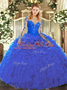 Floor Length Lace Up Sweet 16 Dresses Blue for Military Ball and Sweet 16 and Quinceanera with Lace and Ruffles