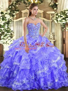 Lavender Sleeveless Embroidery and Ruffled Layers Floor Length Sweet 16 Quinceanera Dress