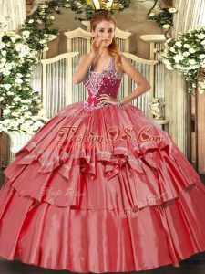 Fantastic Floor Length Coral Red Quinceanera Dress Straps Sleeveless Lace Up