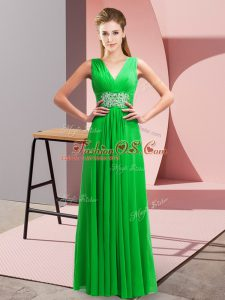 Hot Sale V-neck Sleeveless Prom Evening Gown Floor Length Beading and Ruching Green Chiffon