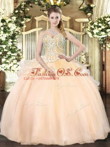 Hot Selling Champagne Organza Lace Up Sweetheart Sleeveless Floor Length Quinceanera Gown Beading