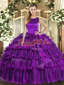 New Arrival Floor Length Lace Up Quinceanera Gown Eggplant Purple for Military Ball and Sweet 16 and Quinceanera with Ruffled Layers