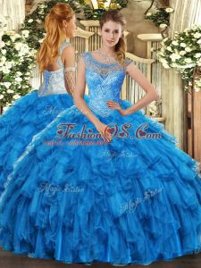 Gorgeous Scoop Sleeveless Organza Ball Gown Prom Dress Beading and Ruffles Lace Up