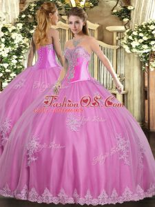 Glittering Floor Length Rose Pink Sweet 16 Dress Sweetheart Sleeveless Lace Up