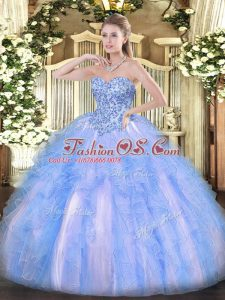 Sexy Sweetheart Sleeveless Organza Quinceanera Dress Appliques and Ruffles Lace Up