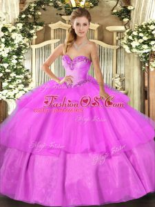 Fancy Lilac Ball Gowns Beading and Ruffled Layers Quince Ball Gowns Lace Up Tulle Sleeveless Floor Length