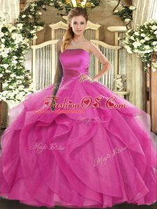 Tulle Sleeveless Floor Length 15th Birthday Dress and Ruffles