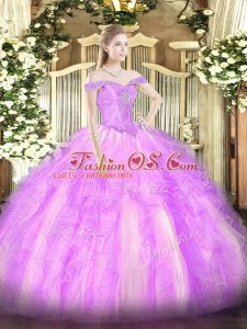 Glittering Lilac Ball Gowns Beading and Ruffles Vestidos de Quinceanera Lace Up Tulle Sleeveless Floor Length