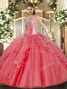 High End Coral Red Sweetheart Lace Up Beading and Ruffles Sweet 16 Quinceanera Dress Sleeveless
