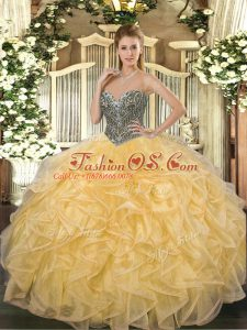 Ball Gowns Quinceanera Dresses Gold Sweetheart Organza Sleeveless Floor Length Lace Up