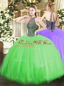 Ball Gowns Ball Gown Prom Dress Halter Top Tulle Sleeveless Floor Length Lace Up