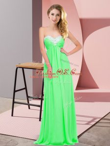 Chic Apple Green Chiffon Lace Up Casual Dresses Sleeveless Floor Length Ruching