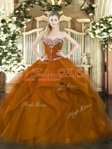 Noble Sleeveless Tulle Floor Length Lace Up Ball Gown Prom Dress in Brown with Beading and Ruffles